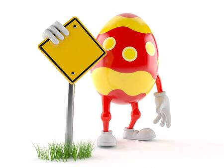 Easter egg character with blank road sign isolated on white background Stock Photo