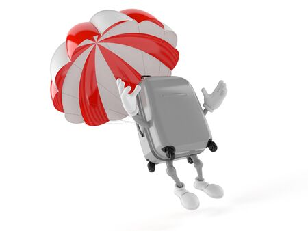 Suitcase character with parachute isolated on white background
