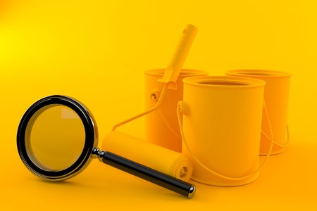 Renovation background with magnifying glass in orange color Stock Photo