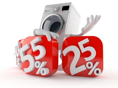 Washer character behind percentage signs isolated on white background