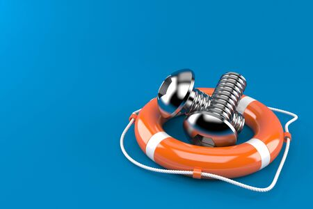 Bolts with life buoy isolated on blue background