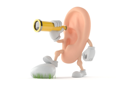 Ear character looking through a telescope isolated on white background