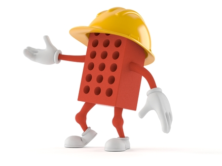 Brick character isolated on white background