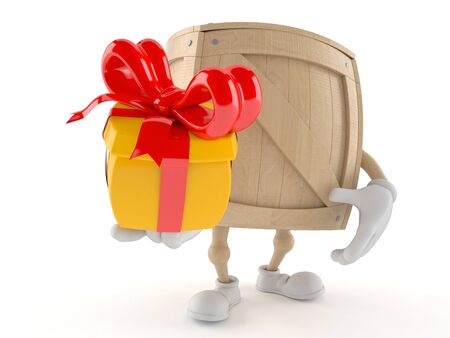 Crate character holding gift isolated on white background Stock Photo