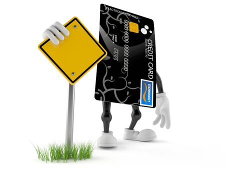 Credit card character with blank road sign isolated on white background