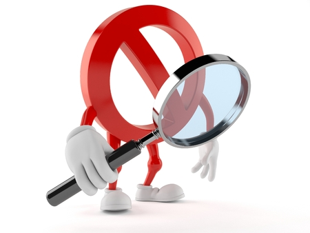 Forbidden character looking through magnifying glass isolated on white background Stock Photo