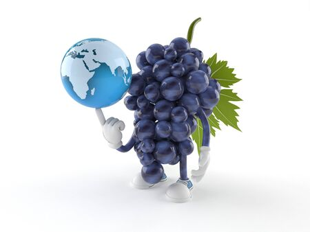 Grapes character with world globe isolated on white background