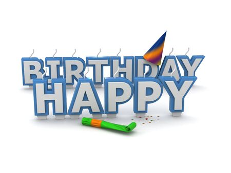 Happy birthday candles isolated on white background