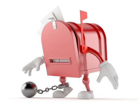 Mailbox character with prison ball isolated on white background Stock Photo
