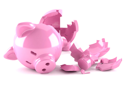 Broken Piggy bank isolated on white background Banco de Imagens
