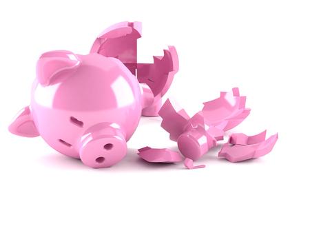 Broken Piggy bank isolated on white background Standard-Bild