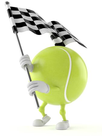 Tennis ball character with racing flag isolated on white background