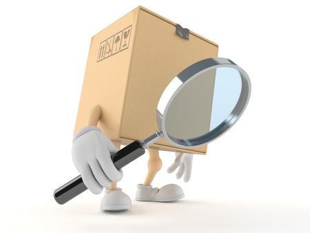 Package character looking through magnifying glass isolated on white background