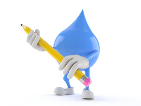 Water drop character holding pencil isolated on white background Фото со стока