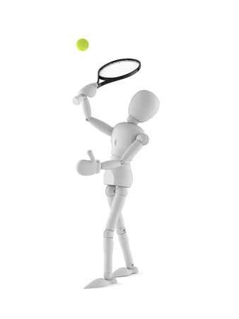 White dummy character playing tennis on white background