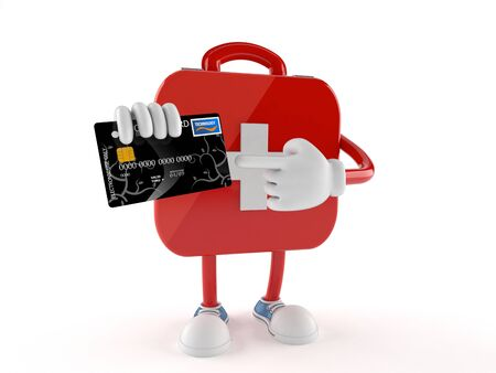 First aid kit character with credit card isolated on white background