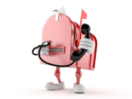 Mailbox character holding a telephone handset isolated on white background