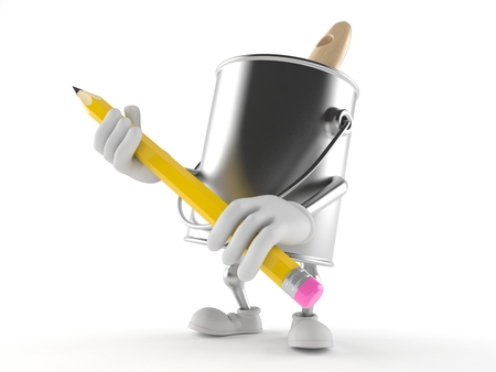 Paint can character holding pencil isolated on white background Фото со стока