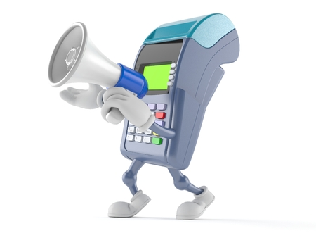 Credit card reader character speaking through a megaphone isolated on white background