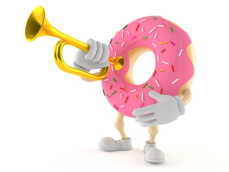 Donut character holding trumpet isolated on white background
