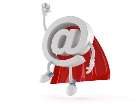 E-mail character with hero cape isolated on white background