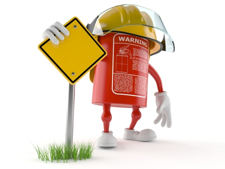 Fire extinguisher character with blank road sign isolated on white background Foto de archivo