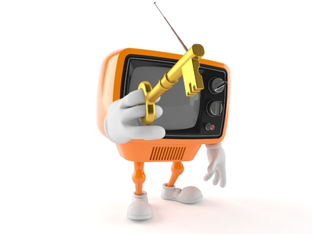 Retro TV character with gold key isolated on white background