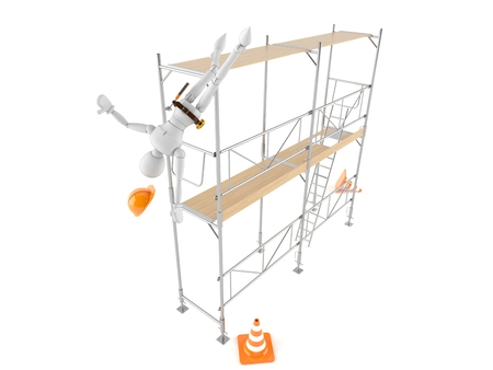 Manual worker falling on white background