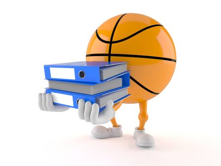Basketball character carrying ring binders isolated on white background