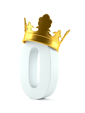 Zero number with crown isolated on white background