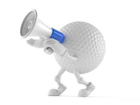 Golf ball character speaking through a megaphone isolated on white background