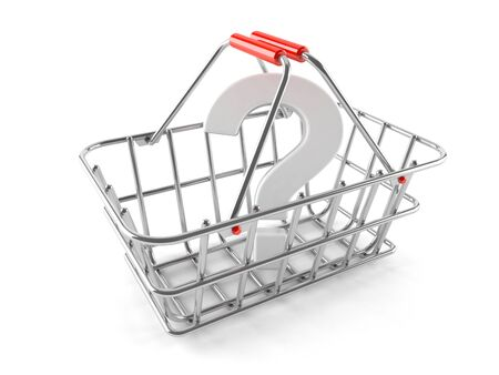 Shopping basket with question mark isolated on white background Stock Photo