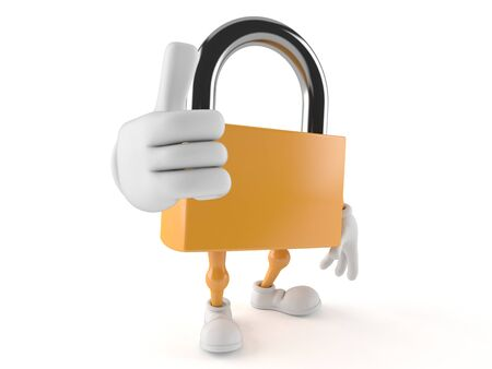 Padlock character with thumbs up isolated on white background Stock Photo