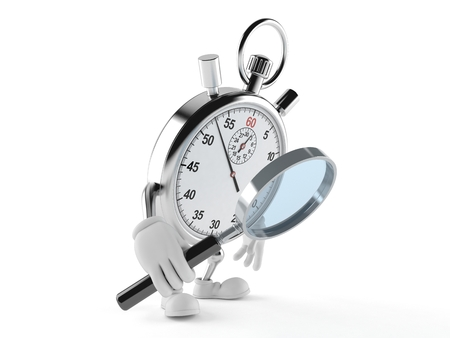 Stopwatch character looking through magnifying glass isolated on white background