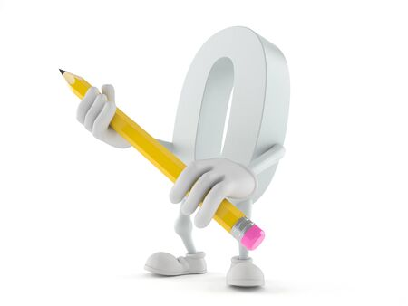 Zero character holding pencil isolated on white background
