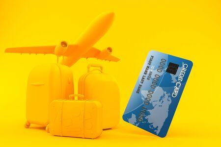 오렌지 색상의 신용 카드로 여행 배경