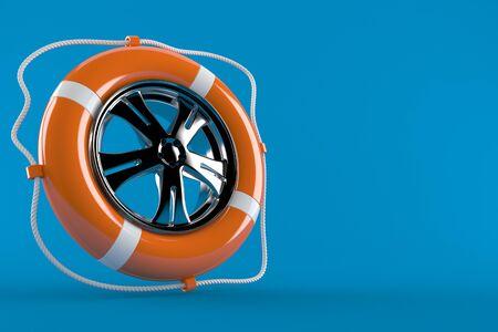Life buoy with rim isolated on blue background
