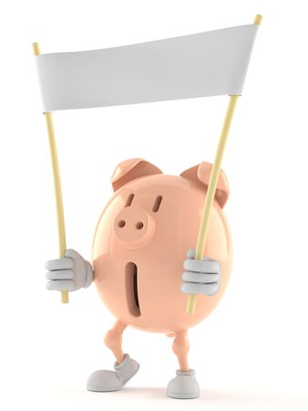 Piggy bank character holding blank banner isolated on white background