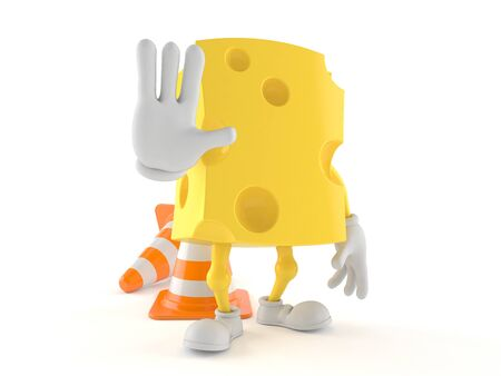 Cheese character making stop gesture isolated on white background Stock Photo