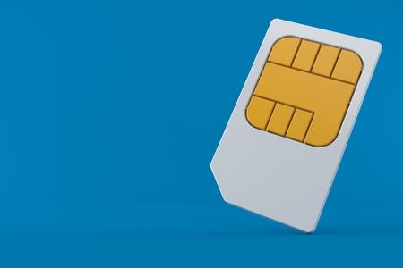 SIM card isolated on blue background Stock Photo