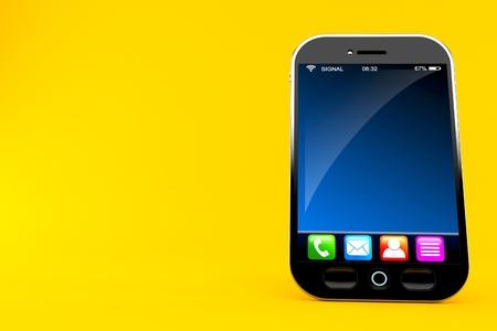 Smart phone isolated on orange background Stock Photo