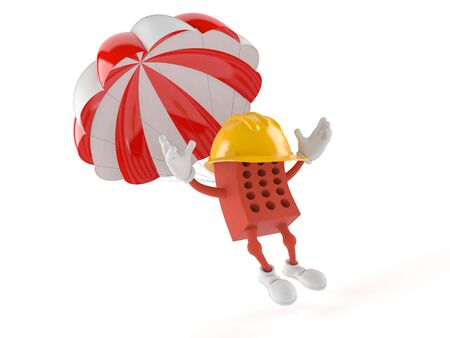 Brick character with parachute isolated on white background
