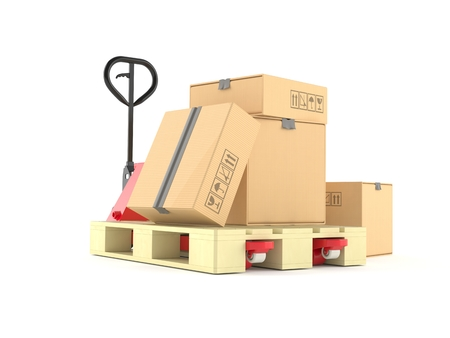 白い背景に隔離されたパッケージを持つハンドパレットトラック