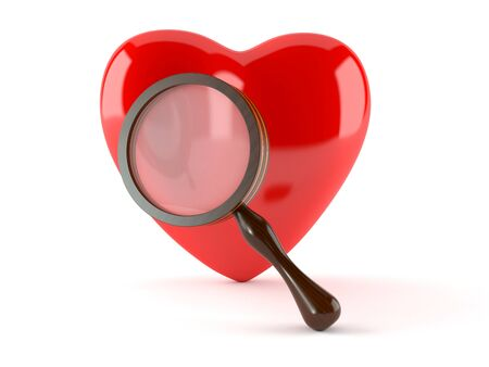 Heart with magnifying glass isolated on white background