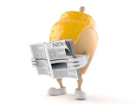 Honey jar character reading newspaper on white background