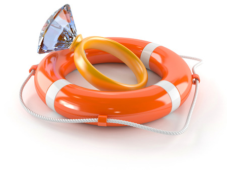 Life buoy with golden ring isolated on white background Stock Photo