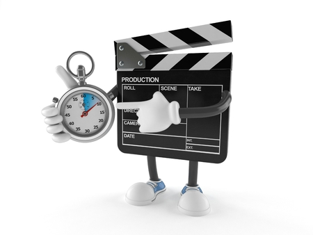 Film slate character with stopwatch isolated on white background