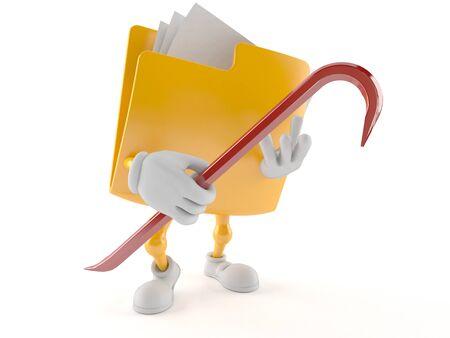 Folder character holding crowbar isolated on white background Stock Photo