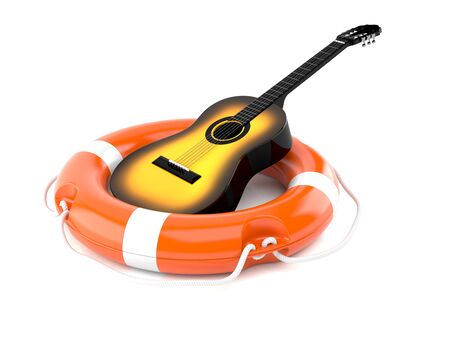 Guitar with life buoy isolated on white background Stock Photo