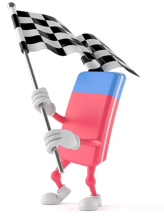 School rubber character with racing flag isolated on white background Stock Photo